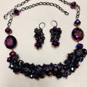 Jewelry - Ann Taylor purple necklace and drop earrings